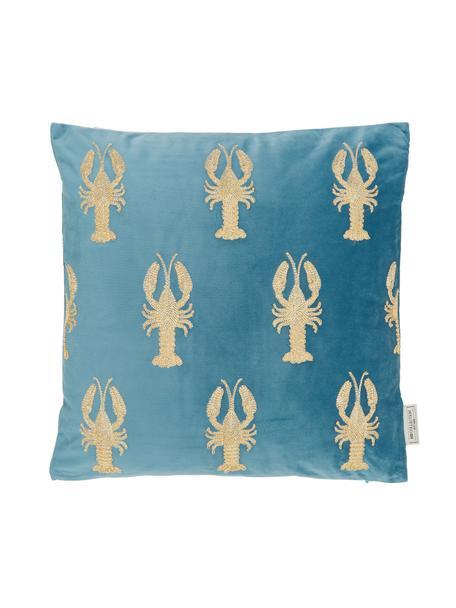 Geborduurd fluwelen kussen Lobster, met vulling, 100% fluweel, Blauw, goudkleurig, 45 x 45 cm