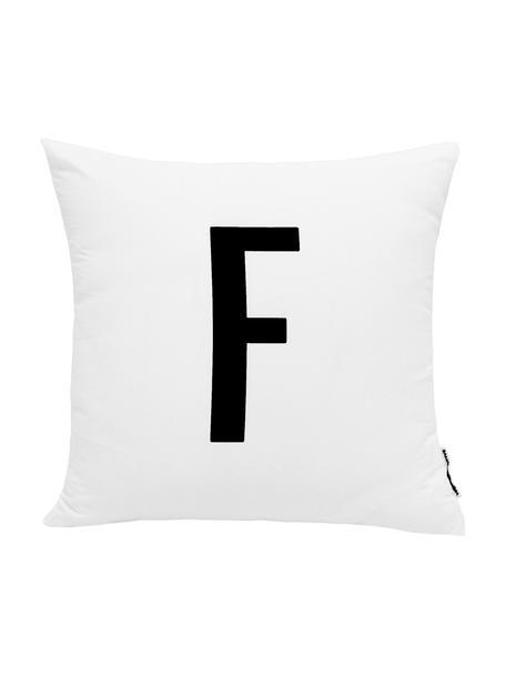 Kussenhoes Alphabet (varianten van A tot Z), 100% polyester, Zwart, wit, Variant F