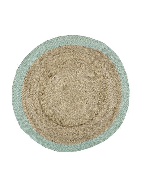 Alfombra redonda artesanal de yute Shanta, 100%yute, Yute, verde menta, Ø 100 cm (Tamaño XS)