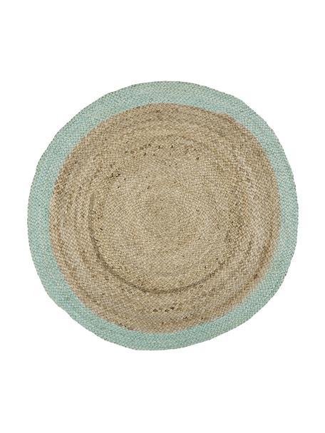 Rond juten vloerkleed Shanta met muntgroene rand, handgemaakt, Jutekleurig, mintgroen, Ø 100 cm (maat XS)