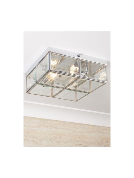 Kleine Deckenleuchte Ben in Chrom, Lampenschirm: Glas, Chrom, Transparent, 26 x 10 cm