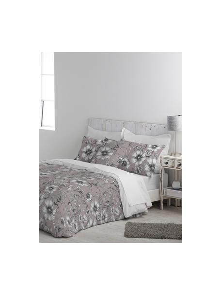 Parure copripiumino in cotone Field, Cotone, Fronte: rosa cipria, grigio, bianco Retro: bianco, 155 x 200 cm