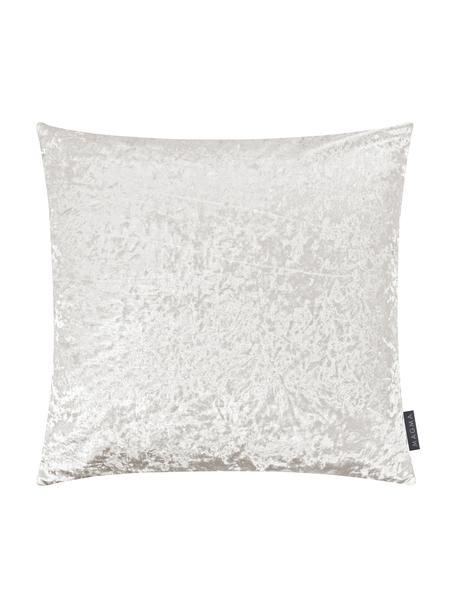 Samt-Kissenhülle Shanta mit schimmerndem Vintage-Muster, 100% Polyestersamt, Elfenbein, 40 x 40 cm