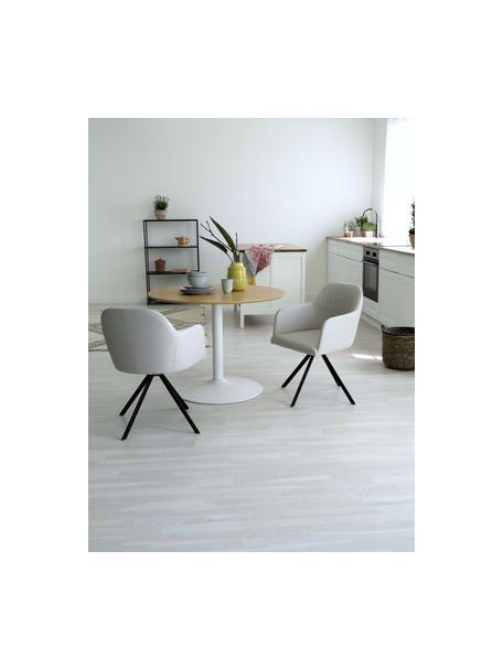 Obrotowe krzesło tapicerowane z podłokietnikami Lola, Tapicerka: poliester, Nogi: metal malowany proszkowo, Kremowobiały, S 55 x G 52 cm