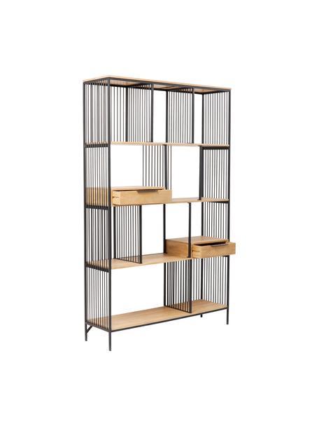 Standregal Modena in Holz und Metall, Gestell: Metall, pulverbeschichtet, Griffe: Metall, pulverbeschichtet, Schwarz, 125 x 200 cm