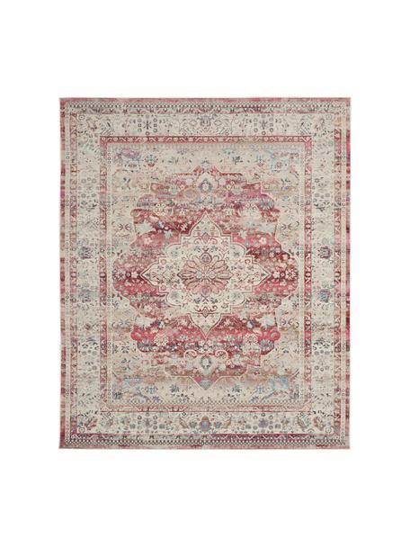 Vloerkleed Vintage Kashan met vintage patroon, Bovenzijde: 100% polypropyleen, Onderzijde: latex, Beige, rood, blauw, B 120 x L 180 cm (maat S)
