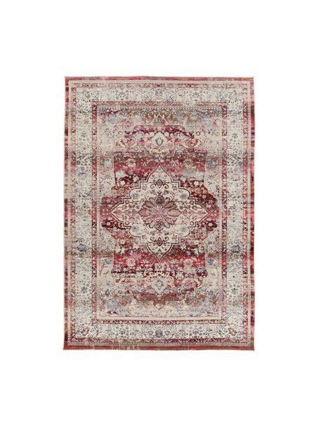 Tappeto con motivo vintage Vintage Kashan, Retro: lattice, Beige, rosso, blu, Larg. 120 x Lung. 180 cm (taglia S)