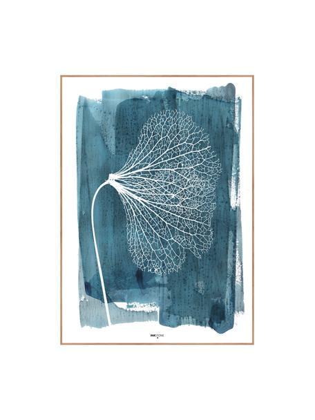 Oprawiony druk cyfrowy White Ginko, Niebieski, biały, S 30 x W 40 cm