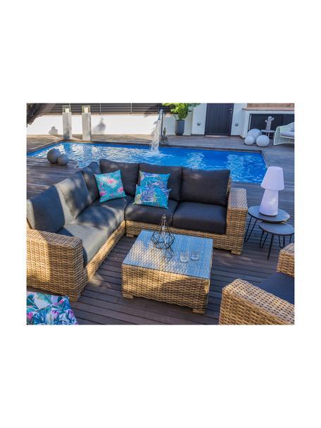 Outdoor salontafel Saba, Frame: polyrotan, UV-bestendig, Frame: aluminium, Poten: massief acaciahout, Tafelblad: glas, Bruin, 80 x 38 cm