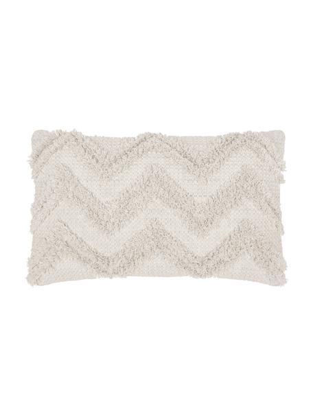 Boho Kissenhülle Akesha mit getuftetem Zickzack-Muster, 100% Baumwolle, Ecru, 30 x 50 cm