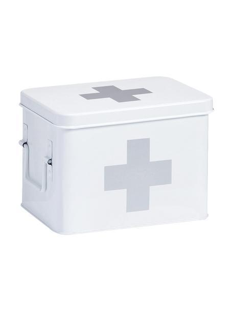 Pudełko do przechowywania Medizina, Metal powlekany, Biały, szary, S 23 x W 16 cm