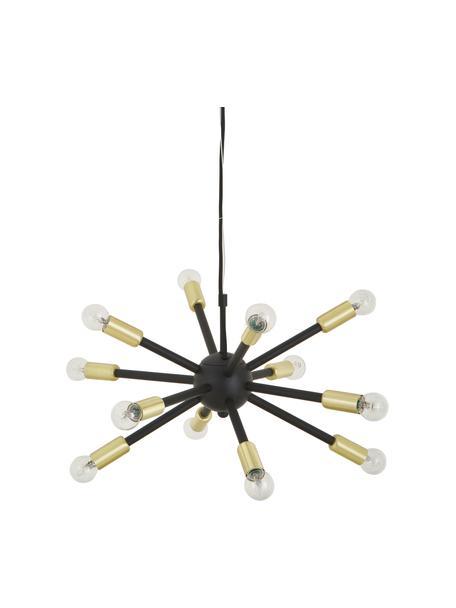 Lámpara de techo Spike, Pantalla: metal con pintura en polv, Casquillo: metal cepillado, Anclaje: metal recubierto, Cable: cubierto en tela, Negro, dorado, Ø 50 cm
