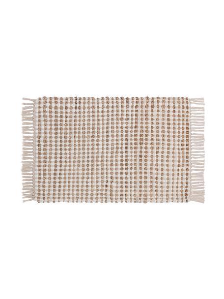 Felpudo de yute y algodón Fiesta, 55%algodón, 45%yute, Blanco, An 45 x L 75 cm
