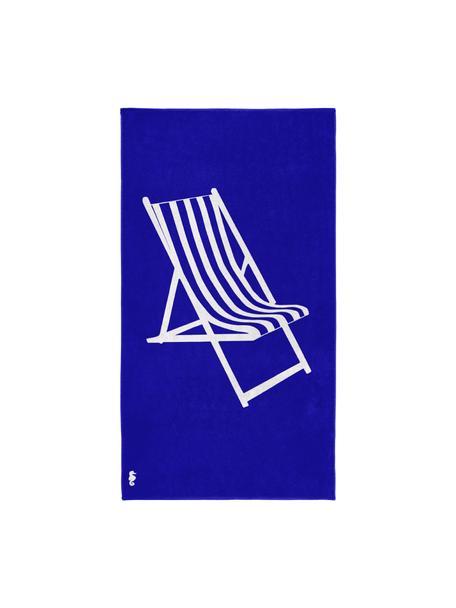 Strandtuch Take a Seat mit sommerlichem Motiv, 100% ägyptische Baumwolle mittelschwere Stoffqualität, 420 g/m², Blau, Weiss, 100 x 180 cm