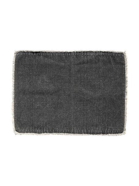 Manteles individuales Edge, 6uds., Mezcla de algodón con StoneWash (lavado a piedra), Gris oscuro, An 33 x L 48 cm