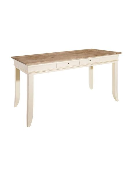 Mesa de comedor Vicky, Estructura: tablero de fibras de dens, Marrón, crema, An 160 x Al 76 cm