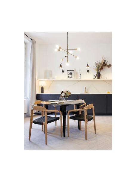 Grote hanglamp Visby in goudkleur, Baldakijn: vermessingd metaal, Stangen: vermessingd metaal, Messingkleurig, Ø 84 cm