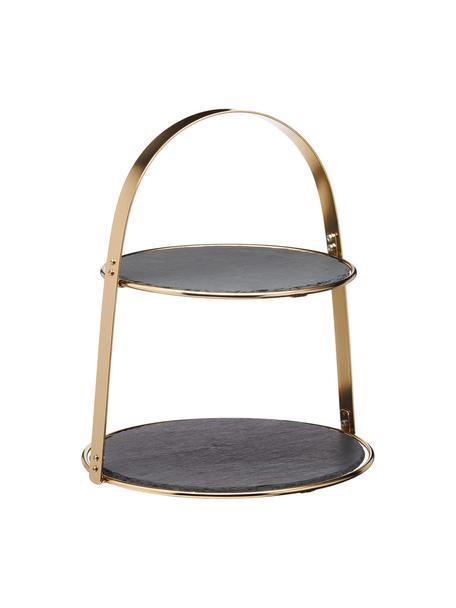 Servieretagere Artesa mit Schiefernplatten, Ø 30 cm, Gestell: Metall, beschichtet, Goldfarben, Schwarz, Ø 30 x H 35 cm