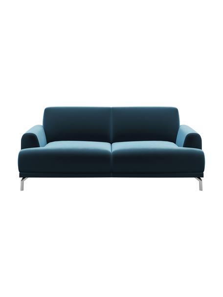 Sofa z aksamitu Puzo (2-osobowa), Tapicerka: 100% aksamit poliestrowy,, Nogi: metal lakierowany, Ciemny niebieski, S 170 x G 84 cm