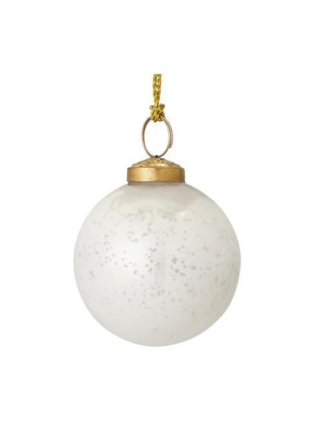 Kerstballen Munay, 2 stuks, Glas, Wit, glanzend, goudkleurig, Ø 8 cm