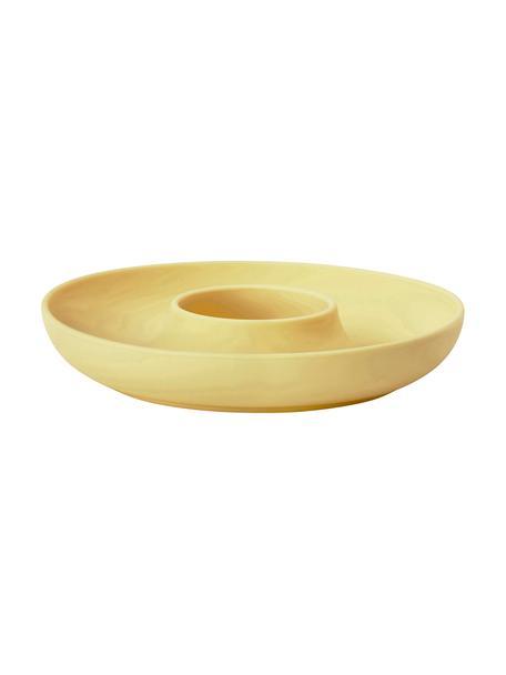 Soporte de huevo Henk, 4 uds., Silicona, metal, recubierto, Amarillo, Ø 11 cm