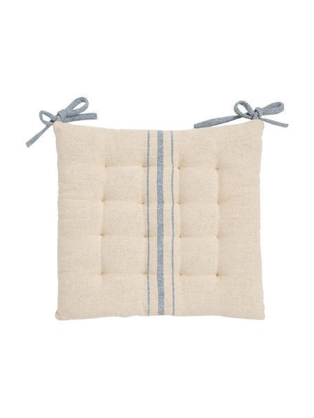 Cuscino sedia a righe con fiocchi blu Capri, 100% cotone, Bianco, blu, Larg. 40 x Alt. 4 cm