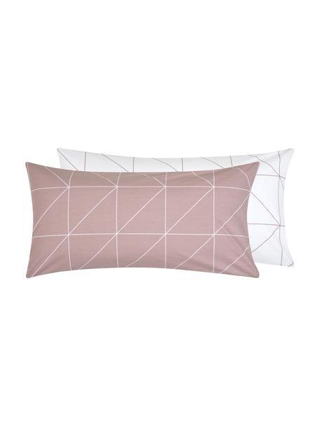 Baumwoll-Wendekissenbezüge Marla mit grafischem Muster, 2 Stück, Webart: Renforcé Fadendichte 144 , Mauve, Weiß, 40 x 80 cm