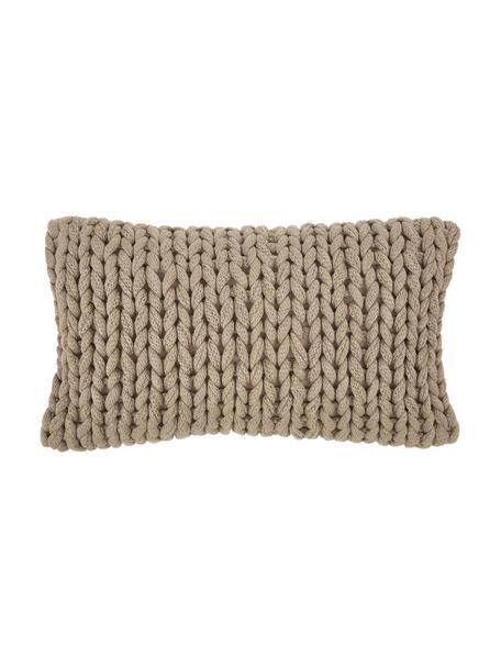 Ręcznie wykonana poszewka na poduszkę z grubej dzianiny Adyna, 100% poliakryl, Beżowy, S 30 x D 50 cm