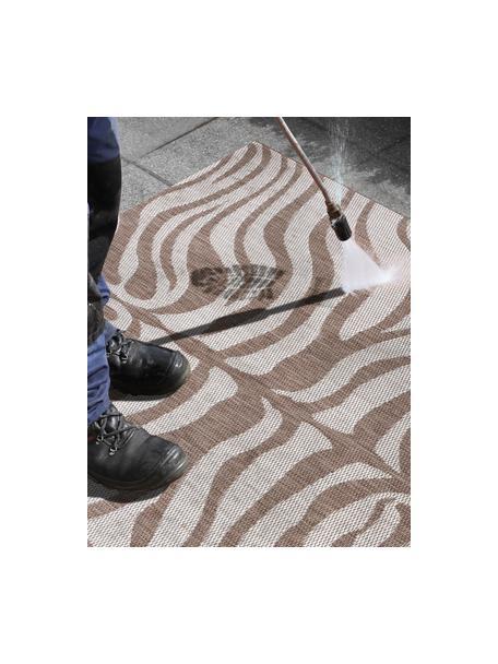 In- & outdoor vloerkleed Avin met zebrapatroon, 100% polypropyleen, Lichtbruin, crèmewit, B 80 x L 150 cm (maat XS)