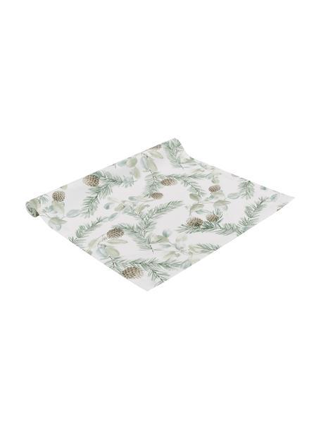 Katoenen tafelloper Pinolo met dennenmotief, 100% katoen, Groen, bruin, wit, 50 x 140 cm