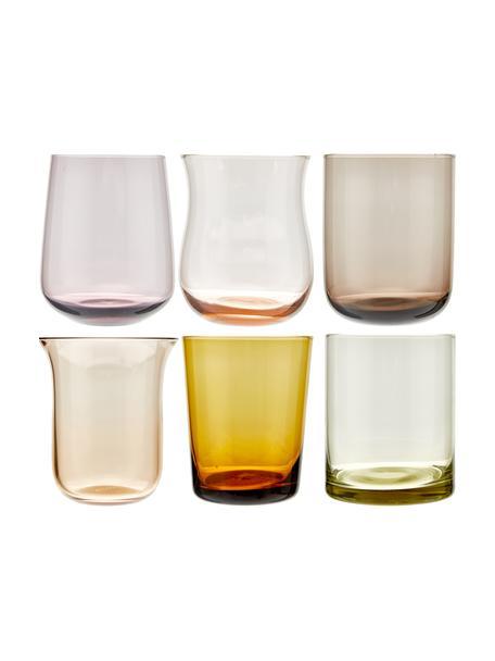 Vasos de vidrio soplado artesanalmente Desiguale, 6uds., Vidrio soplado artesanalmente, Multicolor, Ø 8 x Al 10 cm