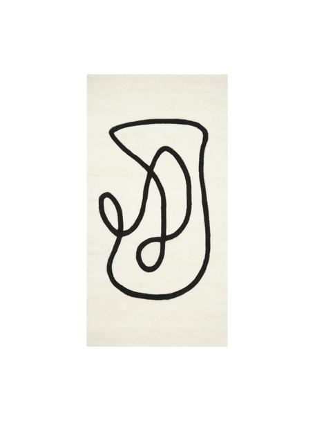 Alfrombra artesanal de lana Line, Parte superior: 100%lana, Reverso: 100%algodón La alfombra , Beige, An 80 x L 150 cm (Tamaño XS)