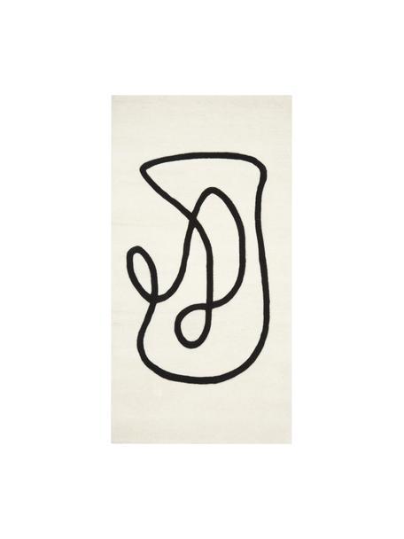Handgetufteter Wollteppich Line in Cremeweiss/Schwarz mit One Line Zeichnung, Flor: 100% Wolle, Beige, B 80 x L 150 cm (Grösse XS)