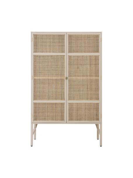 Kledingkast Retro met planken, Frame: Sukai-hout, MDF, Handvatten: messing, Zandkleurig, 125 x 200 cm