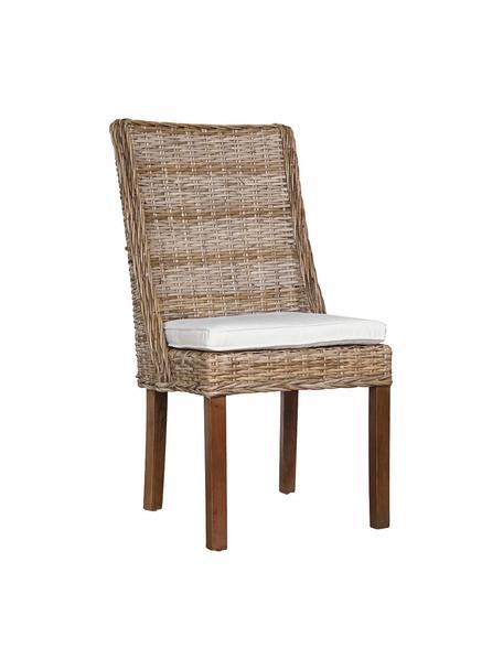 Sedia in rattan Aine, Seduta: rattan intrecciato, Gambe: legno di Mindi, Marrone, Larg. 50 x Prof. 50 cm