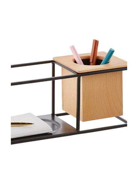 Kleines Wandregal Cubist mit Behälter, Behälter: Eschenholz mit Kunststoff, Schwarz, Hellbraun, 38 x 12 cm