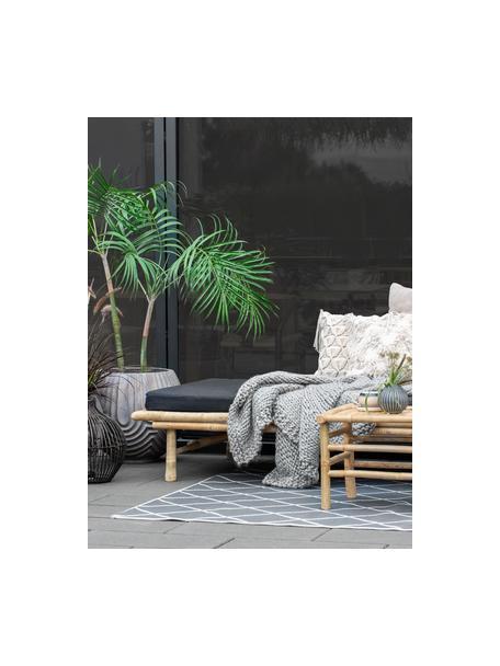 Tapicerowane łóżko dzienne z drewna bambusowego Mandisa, Korpus: drewno bambusowe, natural, Tapicerka: poliester, Drewno bambusowe, czarny, S 215 x G 100 cm