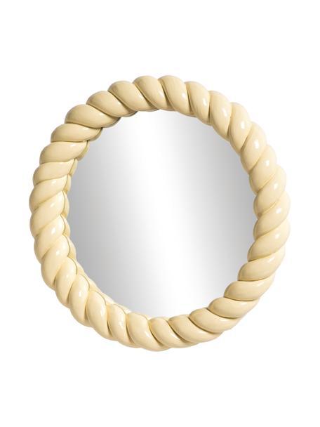 Specchio da parete con cornice in plastica gialla Braid, Cornice: poliresina, Superficie dello specchio: lastra di vetro, Giallo pastello, Ø 25 cm x Prof. 3 cm