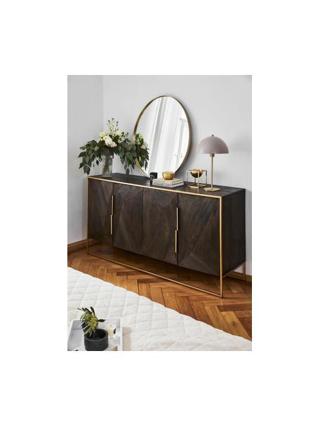 Komoda z litego drewna mangowego z drzwiczkami Harry, Korpus: lite drewno mangowe, laki, Stelaż: metal malowany proszkowo, Drewno mangowe, odcienie złotego, S 175 x W 85 cm