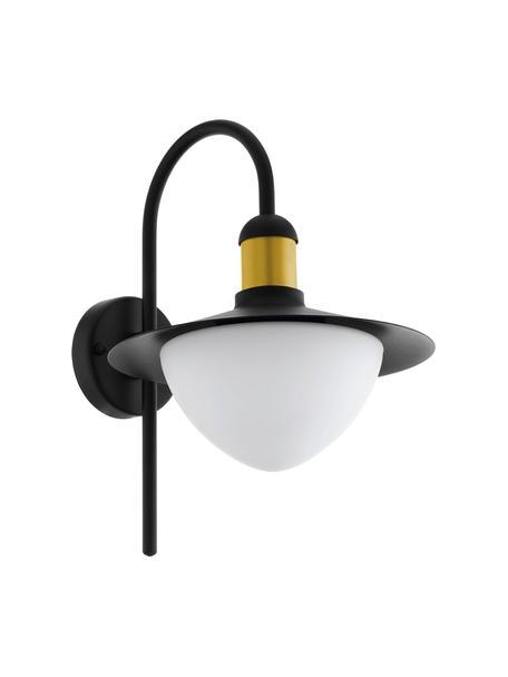 Outdoor wandlamp Sirmione met glazen lampenkap, Lampenkap: opaalglas, Decoratie: gecoat metaal, Zwart, wit, goudkleurig, 27 x 38 cm