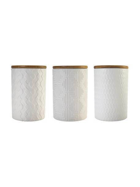 Set 3 contenitori con motivo strutturato Geometry, Contenitore: pietra dolomitica, Coperchio: legno, Bianco, blu, Ø 10 x Alt. 15 cm