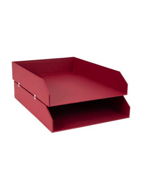 Bandejas para documentos Hakan, 2uds., Cartón laminado macizo, Rojo oscuro, An 23 x F 31 cm