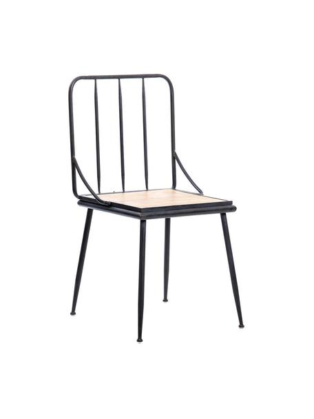 Silla Grid, Asiento: madera de abeto, Negro, marrón, An 44 x Al 87 cm