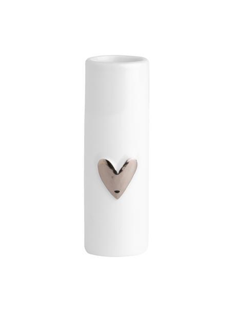 XS Porzellan-Vase Heart, 2 Stück, Porzellan, Weiss, Silberfarben, Ø 4 x H 9 cm