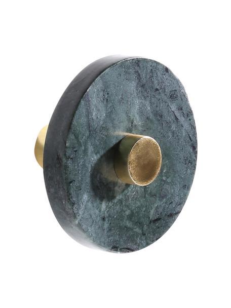 Marmeren wandhaak Jona, Groen, gemarmerd, messingkleurig, Ø 5 x D 8 cm
