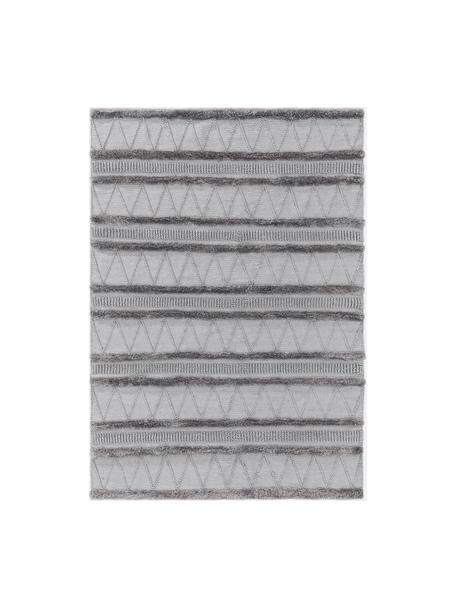 Ethno In- & Outdoor-Teppich Toni in Grau mit Hoch-Tief-Struktur, 100% Polyester (recyceltes PET), Grau, B 80 x L 150 cm (Größe XS)