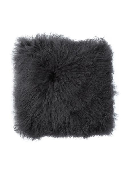 Federa arredo in pelle di agnello a pelo lungo riccio grigio scuro Ella, Retro: 100% poliestere, Grigio scuro, Larg. 40 x Lung. 40 cm