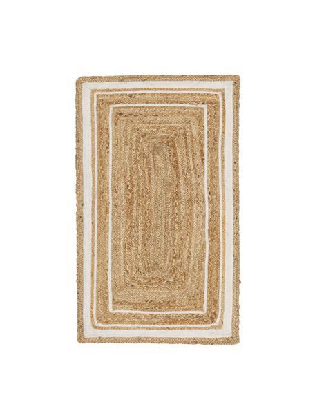 Handgeweven juten vloerkleed Clover, 100% jute, Beige, wit, B 50 x L 80 cm (maat XXS)