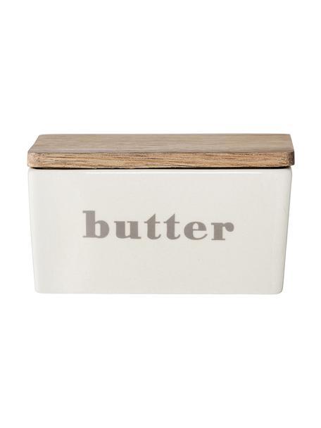 Butterdose Bamboo, Behälter: Steingut, Deckel: Bambus, Dose: Gebrochenes Weiss, Beige Deckel: Bambus, 13 x 7 cm