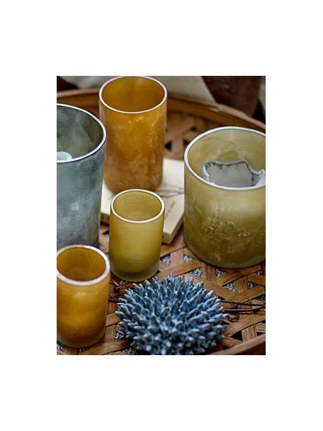 Glazen waxinelichthouder Naga, Glas, Beige, Ø 10 x H 12 cm